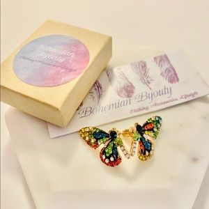 Butterfly Effect blue multi colored earrings